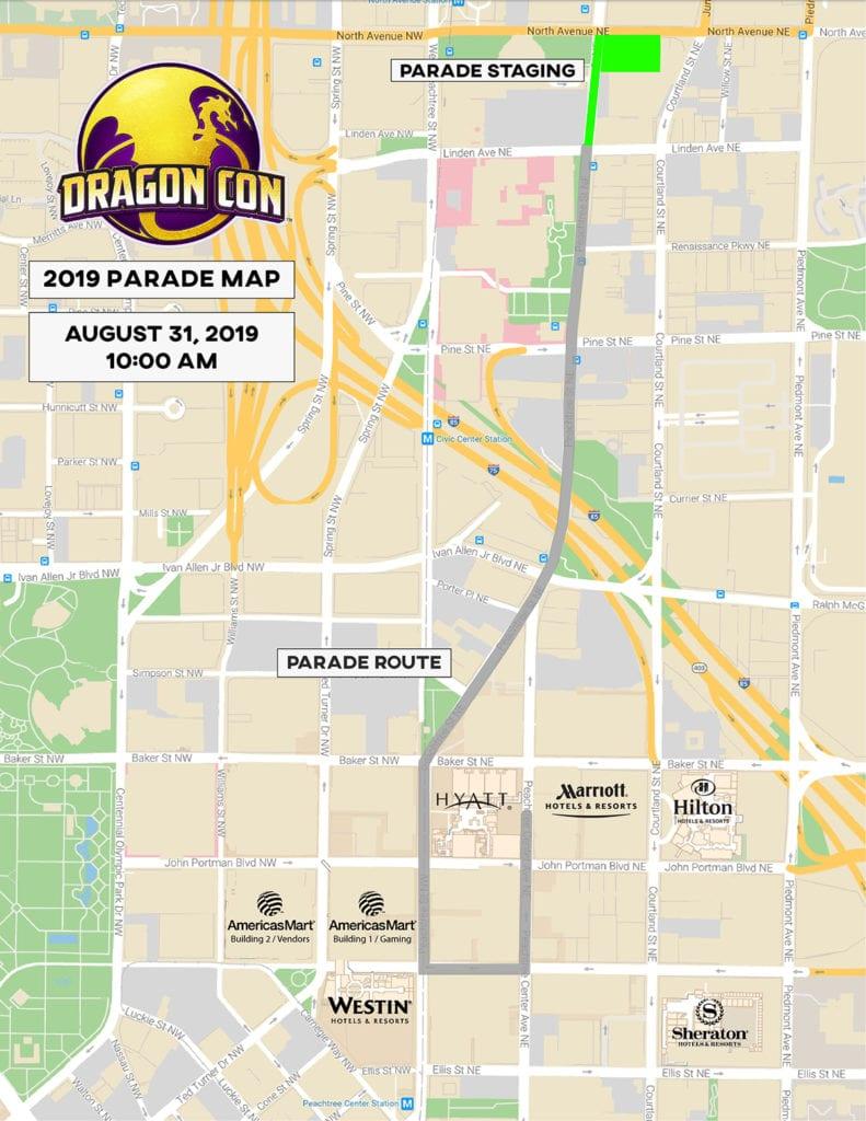 2019 Dragon Con Parade Map
