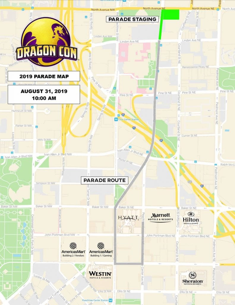 2019 Dragon Con Parade Route