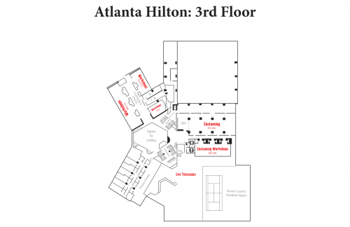 Map of Hilton 3rd Floor